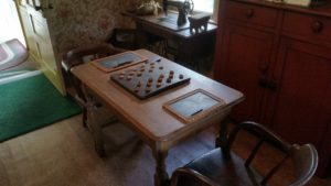 antique checker board and table