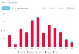 monthly exercise column chart for 2016