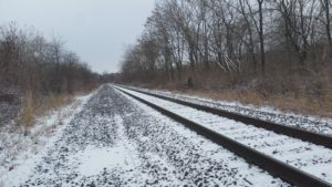 snow-dusted railroad tracks in winter woods