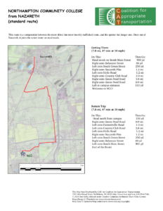 Bicycle route map: Nazareth to NCC
