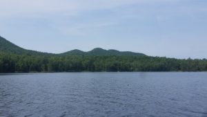 hills on lake shore