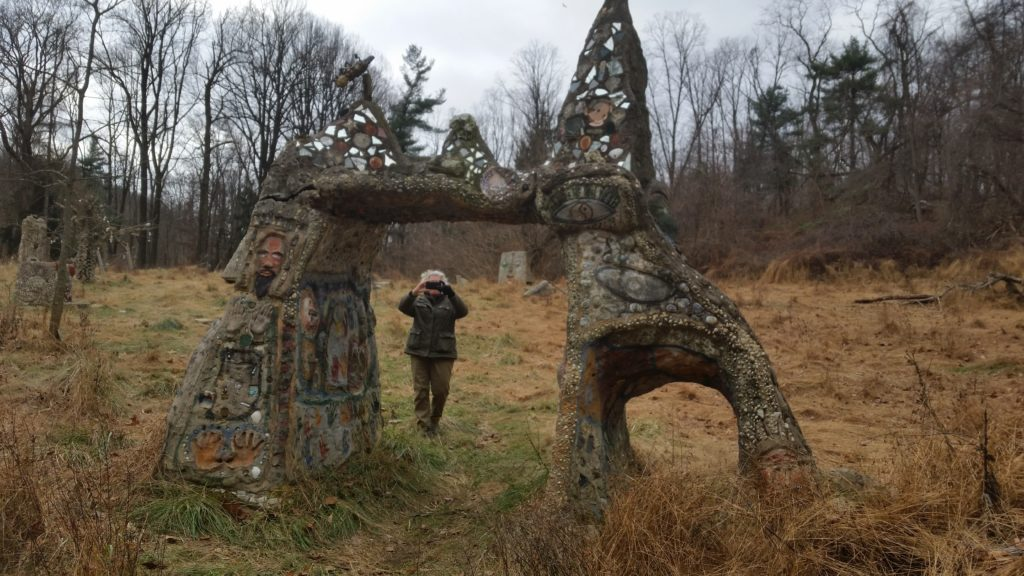 folk sculpture in the woods