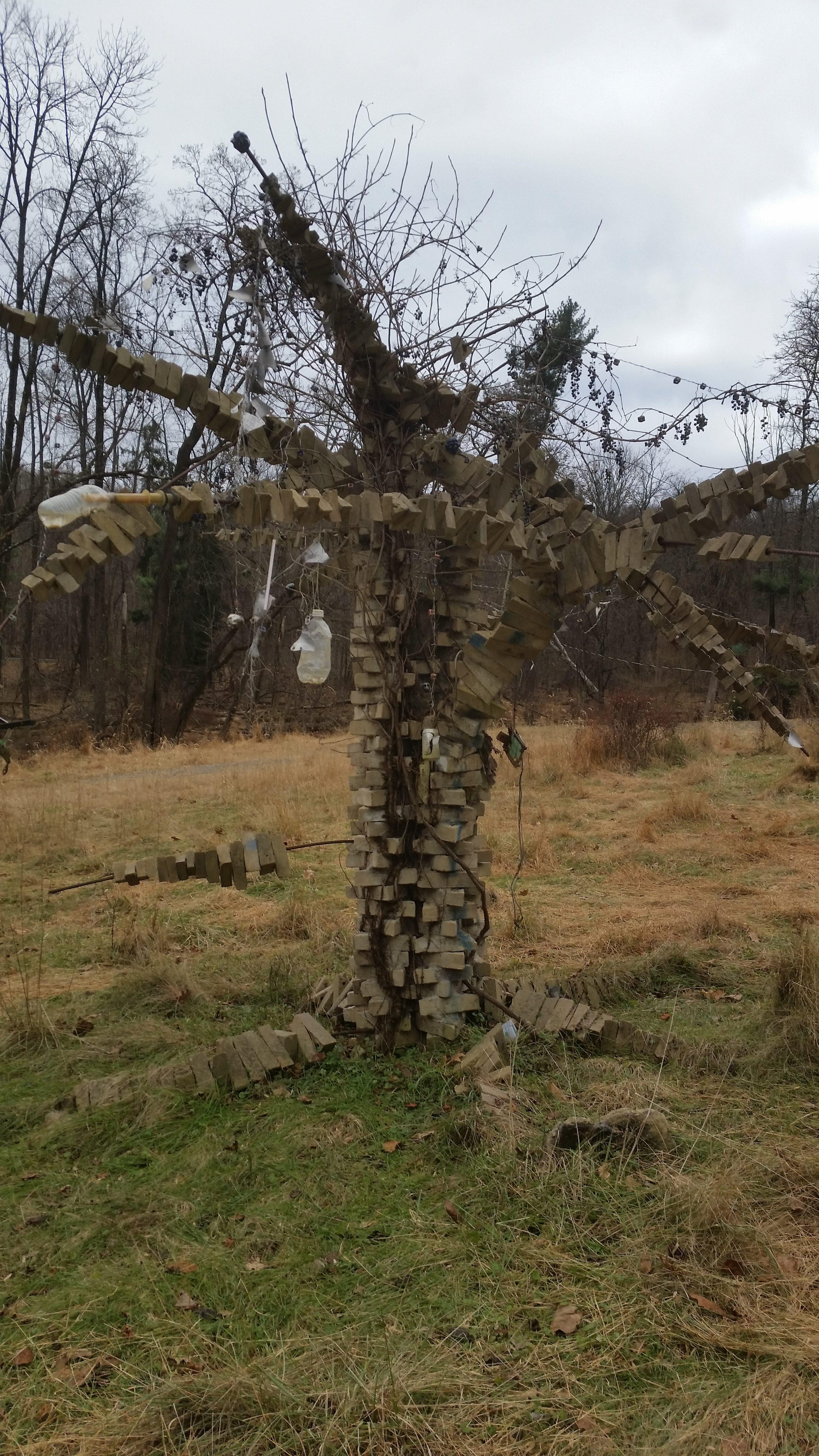 brick tree sculpture