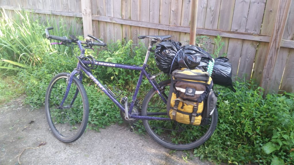 mountain bike with panniers